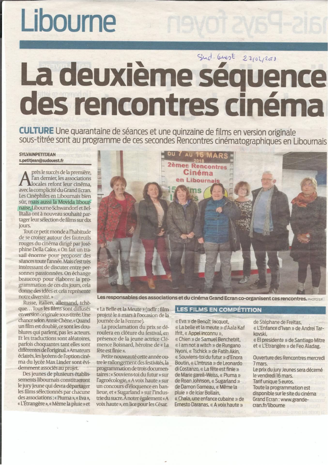 sud-ouest 27 fevr 2018 festival ciné